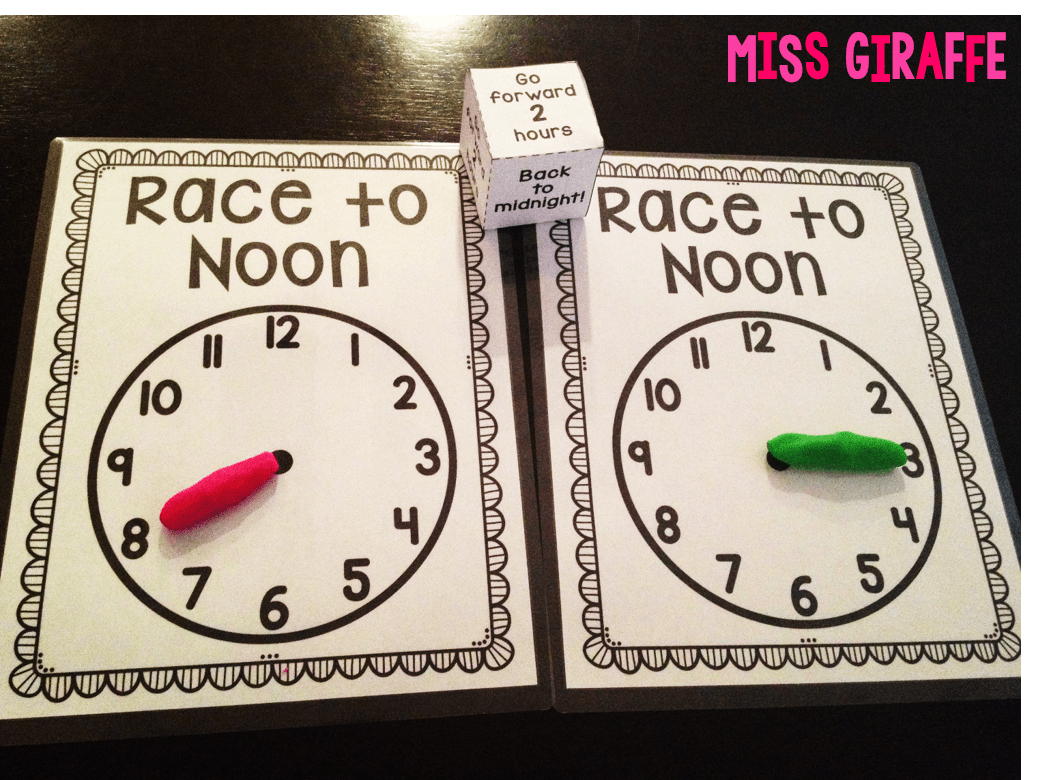 Race To Noon Telling Time To The Hour Game That Is So Much Fun
