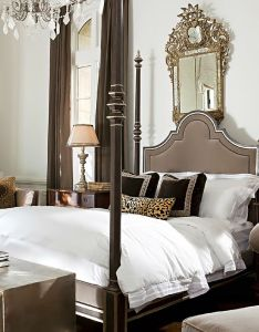 This traditional style bedroom presents an attractive classy look the rock crystal chandelier gives room  beautiful touch of elegance also french flair beautifully decorated homes pinterest rh