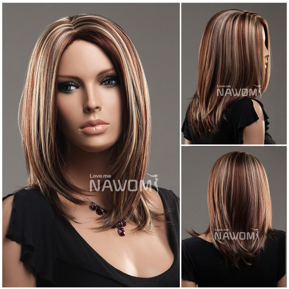 Red Brown And Blonde Highlights Browse Medium Length Brown Hair