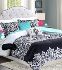Black Pinch Pleat Comforter Set | Comforter, Damasks and Aqua