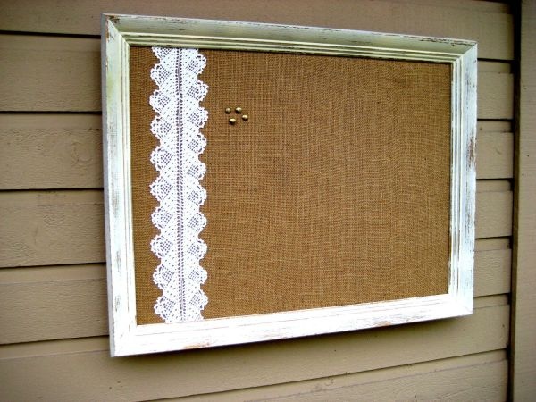 Framed Country Chic Burlap And Vintage Lace Bulletin Board