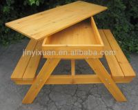 Wooden Picnic Table and Bench with Sandpit / Outdoor Table ...
