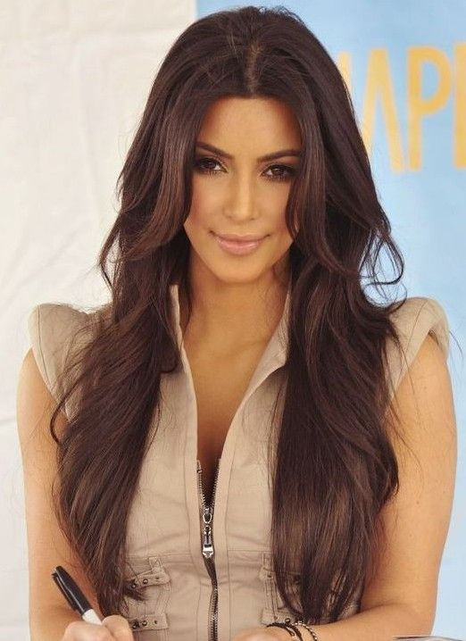 Kim Kardashian Long Hairstyles Brown Hair Kim Kardashian Long