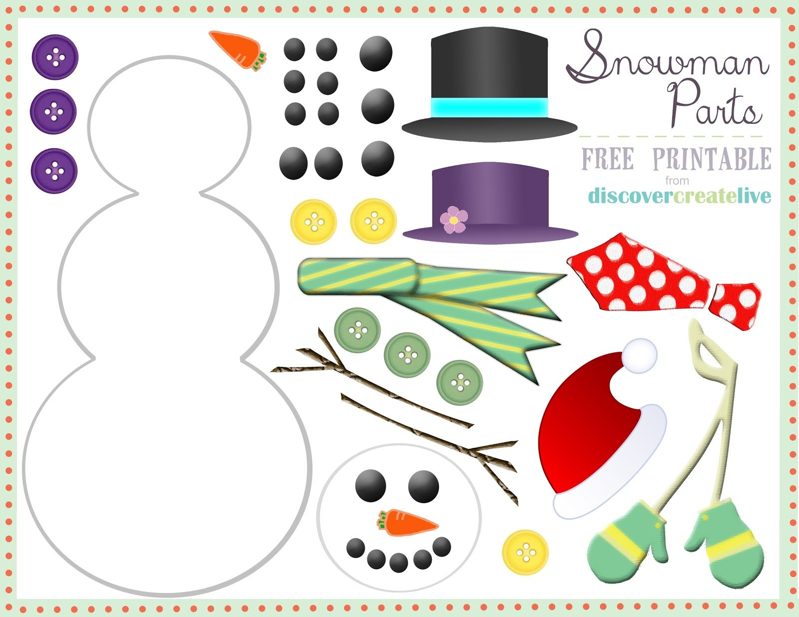 Discover Create Live Graphic Monday Snowman Parts