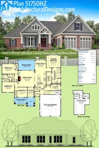 Plan 51750HZ: 4 Bed Craftsman with Open Concept Living ...