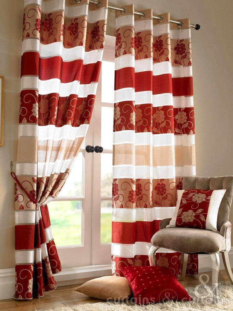Golden Cream & Red Poppy Ring Top Eyelet Curtain Long Curtains