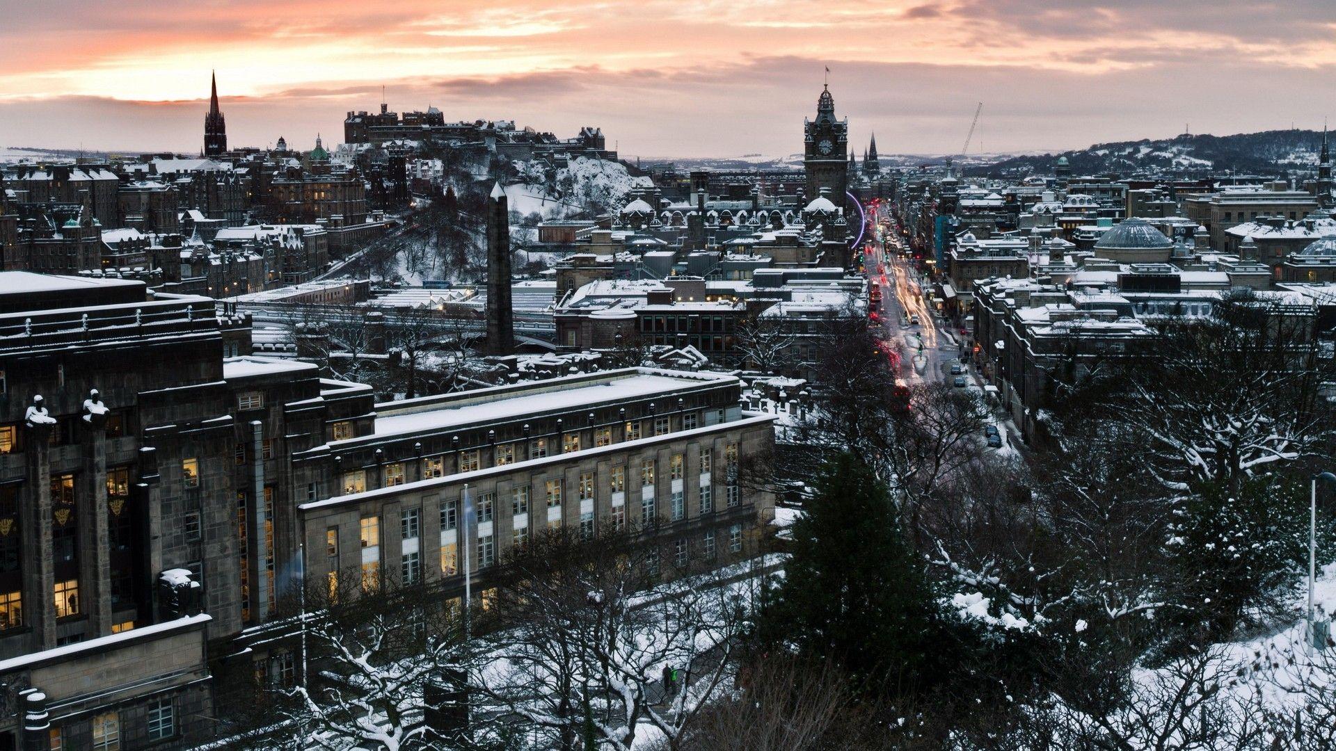 Falling Snow Wallpaper Widescreen 1920x1080 Wallpaper Edinburgh Scotland Winter Snow