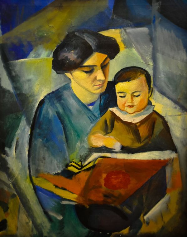 August Macke - Elisabeth And Little Walter 1912. Arte Pintura