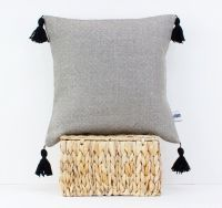 Linen pillow with tassels - Pom pom cushion - Tassel ...