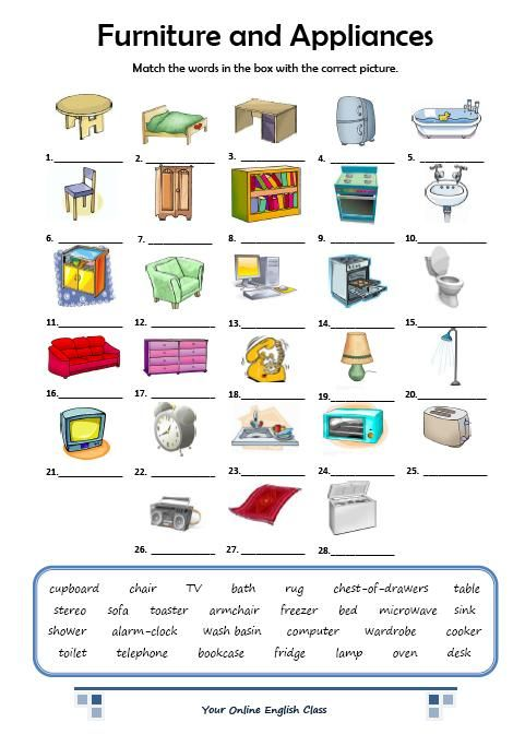 English Vocabulary Furniture And Appliances