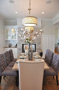 Dining Room Decor Ideas Elegant Traditional Style With Passthrough Stone Clad Fireplace