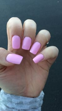 Hot pink/Barbie pink square acrylic nails. Girls just ...