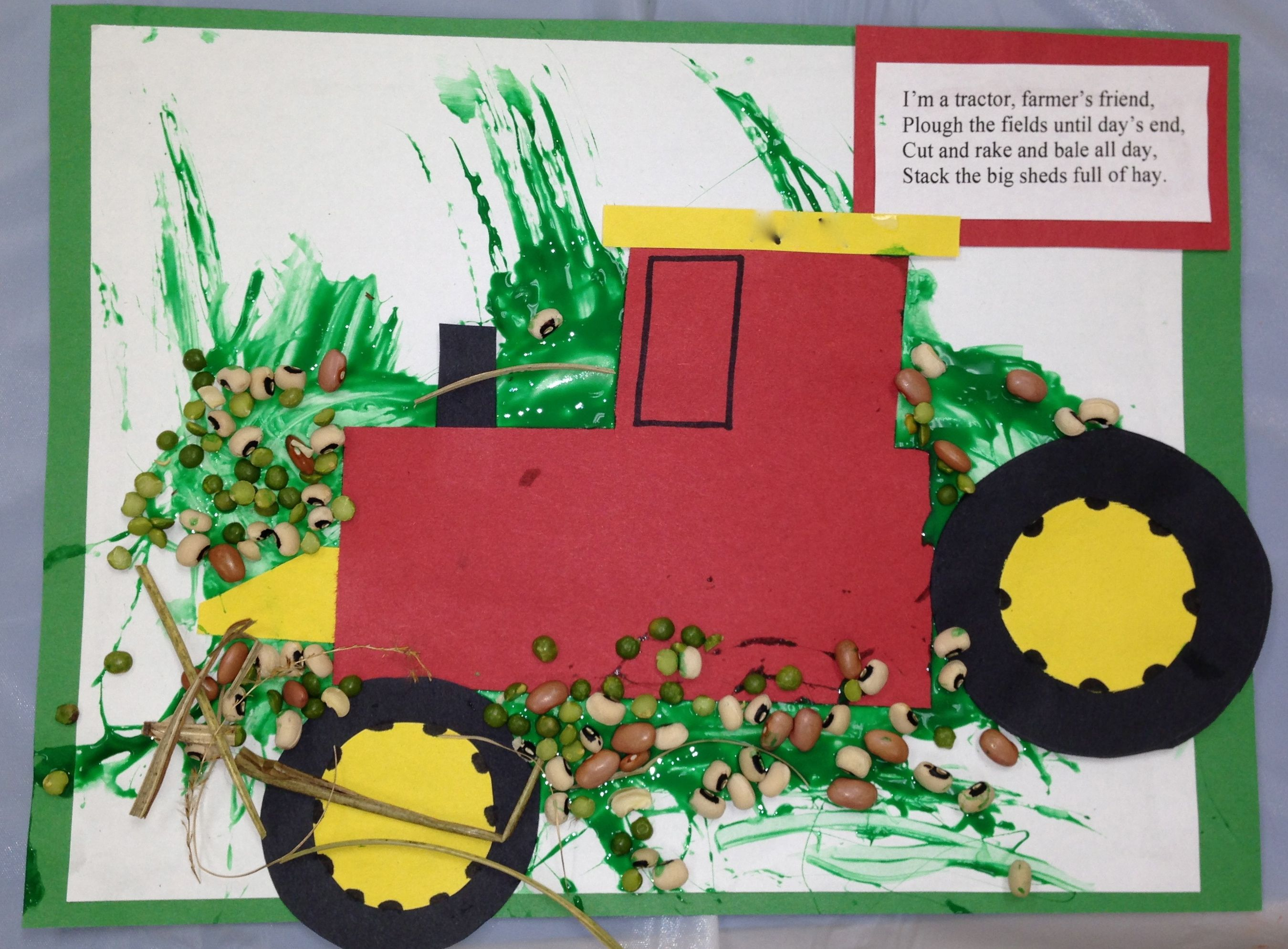 Tractor Craft Have The Kids Paint Paper First Glue And Paint Mixture Then Give Them The