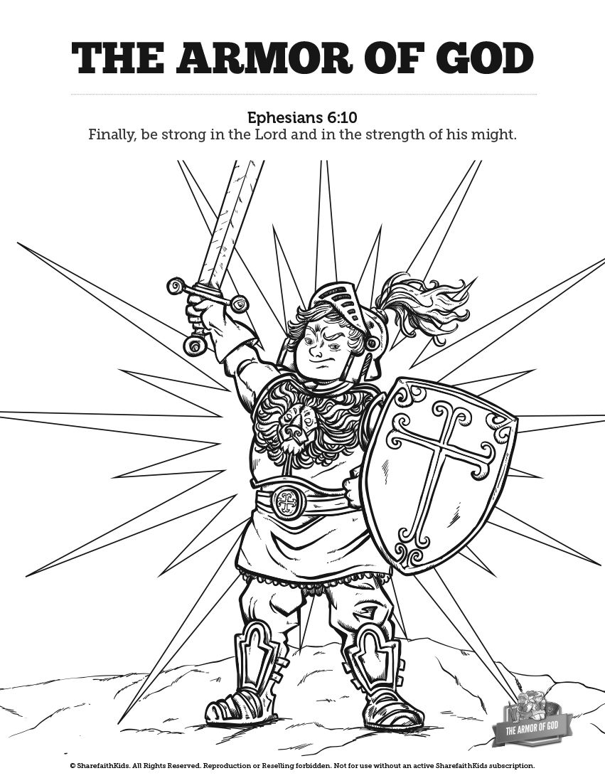 Ephesians 6 The Armor of God Sunday School Coloring Pages