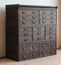 Antique Wooden 23 Drawer Storage Cabinet