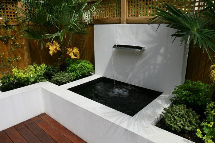 Gartendesign Gartenteich Modern Brunnen Holzdielen Garten