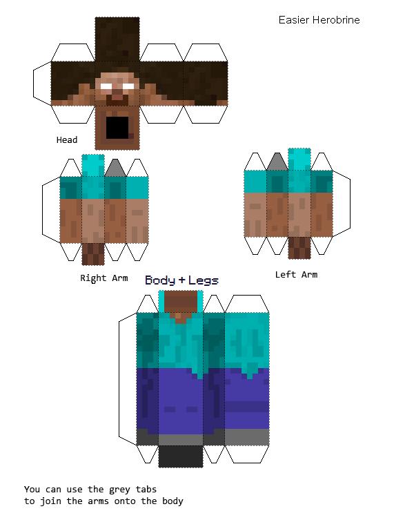 Minecraft Papercraft Herobrine