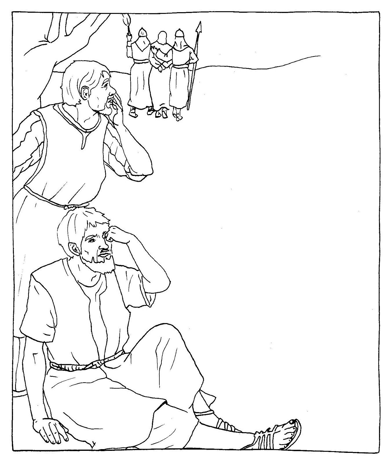 Good Friday Catholic Coloring Page Jesus Is Arrested