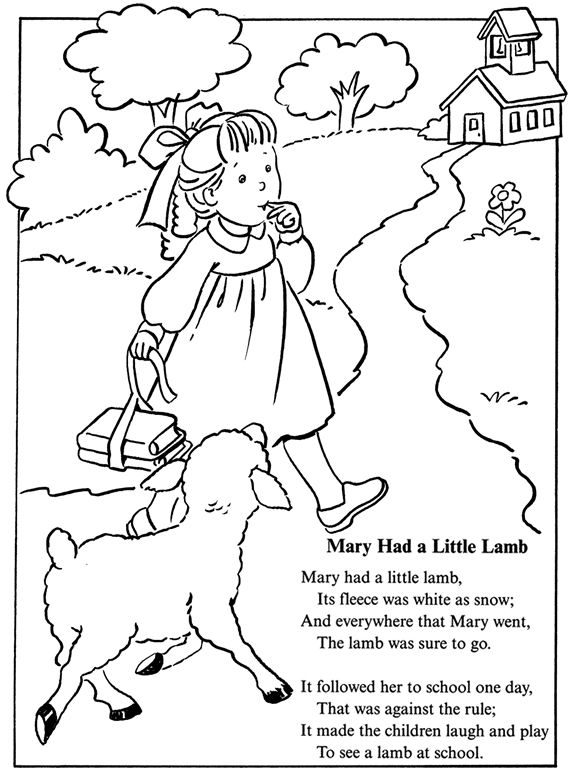 coloring page: inkspired musings: Mary had a little lamb