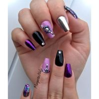 Black And Purple Coffin Nails by MargaritasNailz from Nail ...