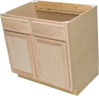 "Quality One 36"" x 34-1/2"" Unfinished Oak Sink Base Cabinet ..."