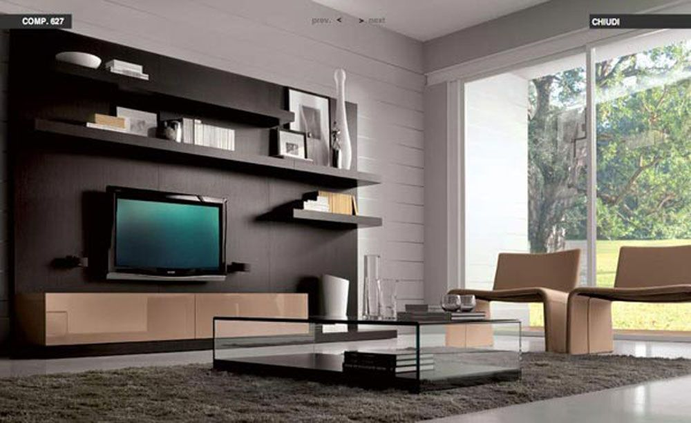 Modern Living Room Decorating Ideas With Black Shelvie With TV