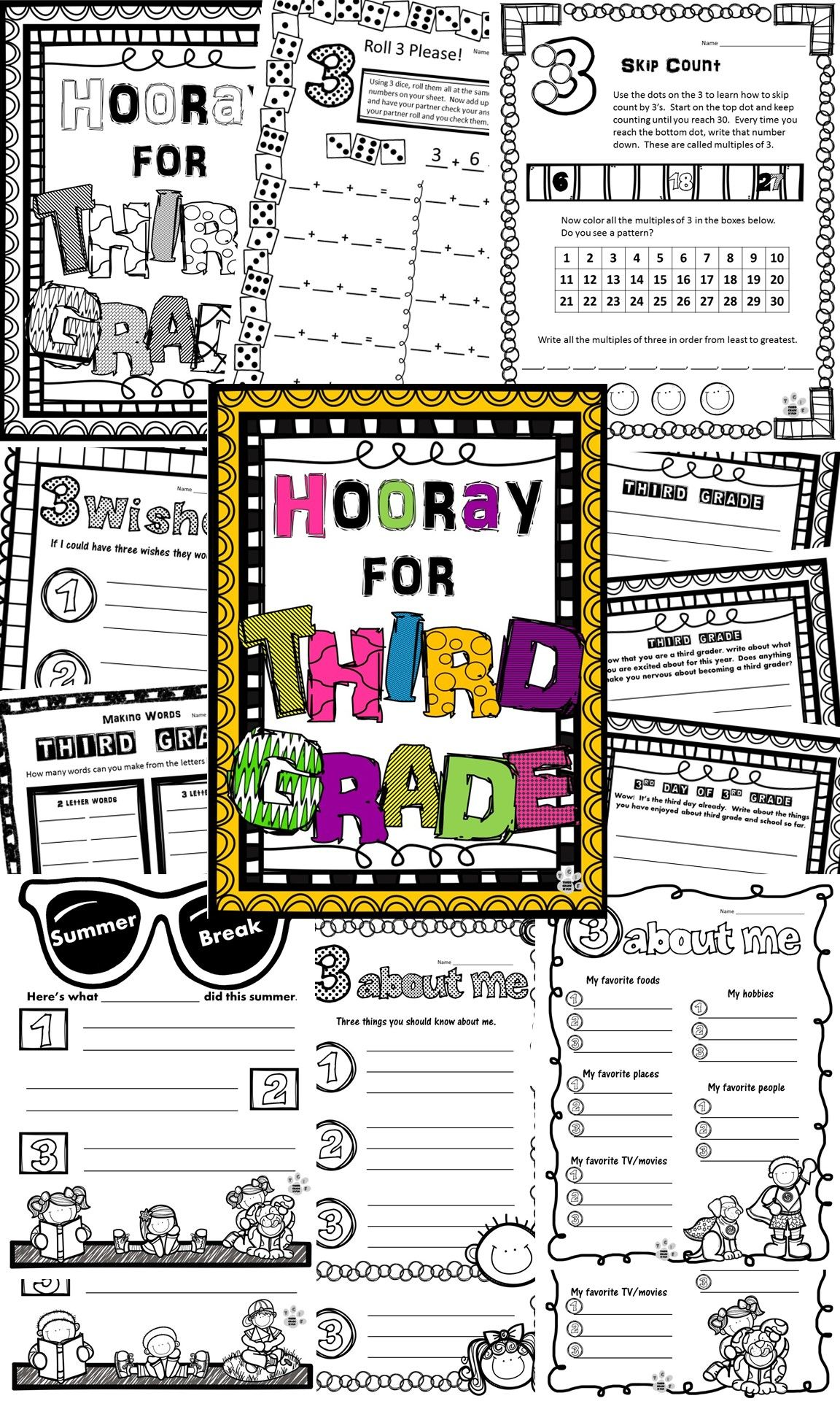 Back To School 3rd Grade Day 3 Activities Writing Math Word Work Coloring