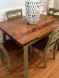 Antique Maple Dining Table and Chairs Refinished in Green ...