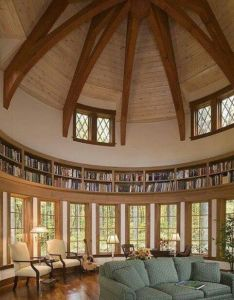 semi circle room with straight wall of floor to ceiling bookshelves ladder that could go all the way around also best images about dome on pinterest cooling tower rh uk