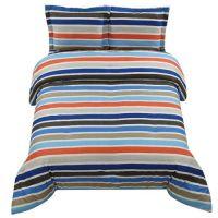 Twin Boys Teen Blue Orange Stripe Stripes Comforter Sham ...