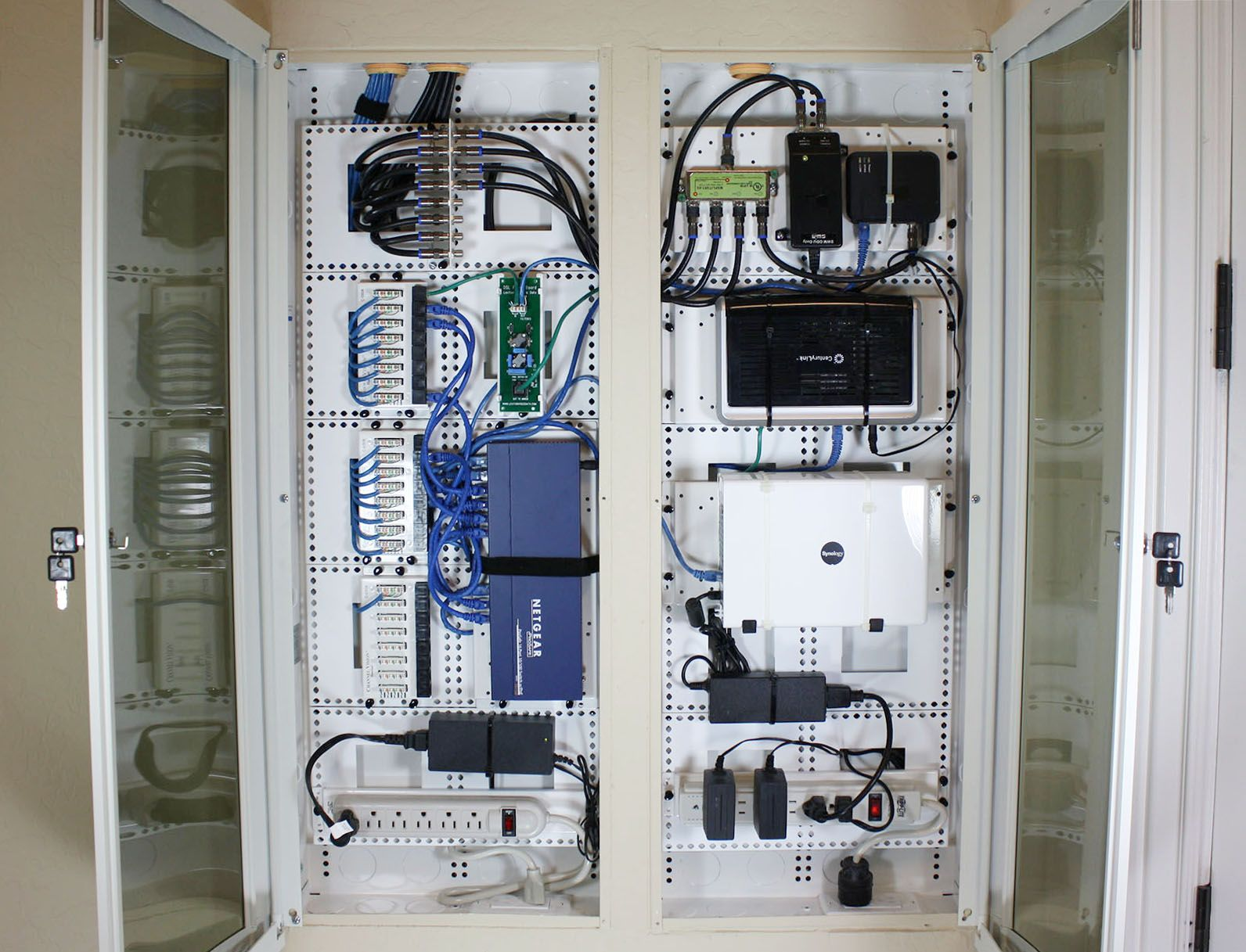 Structured Wiring Home Run Panels In Office Closet