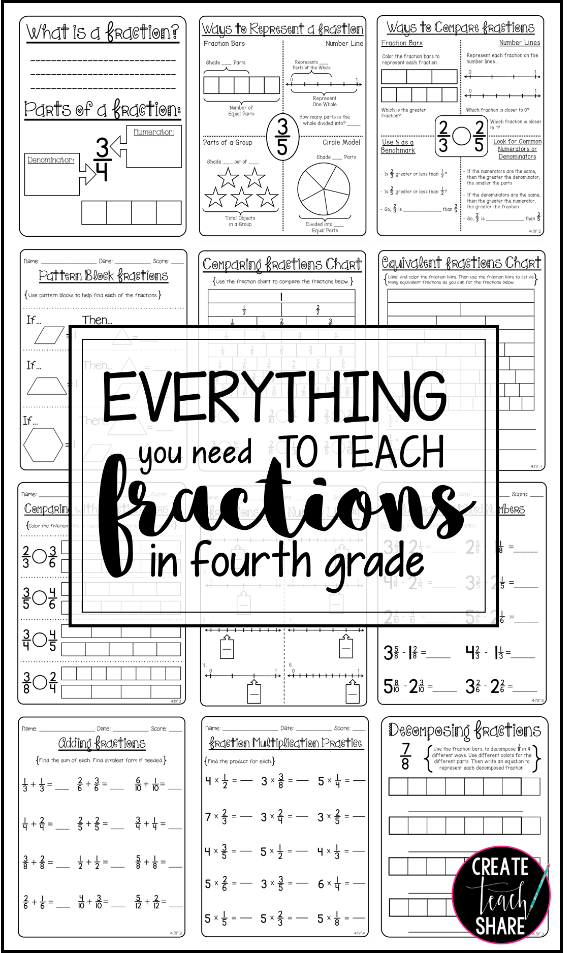 80 Pages To Help Teach Fractions In 4th Grade