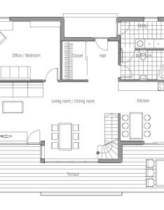 Small house plan with raised ceiling in the living room classical lines and shapes affordable building budget spacious interior also open planning four bedrooms floor rh pinterest