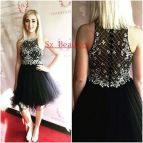 Short Little Black Dresses Homecoming Gown Crystal Beaded