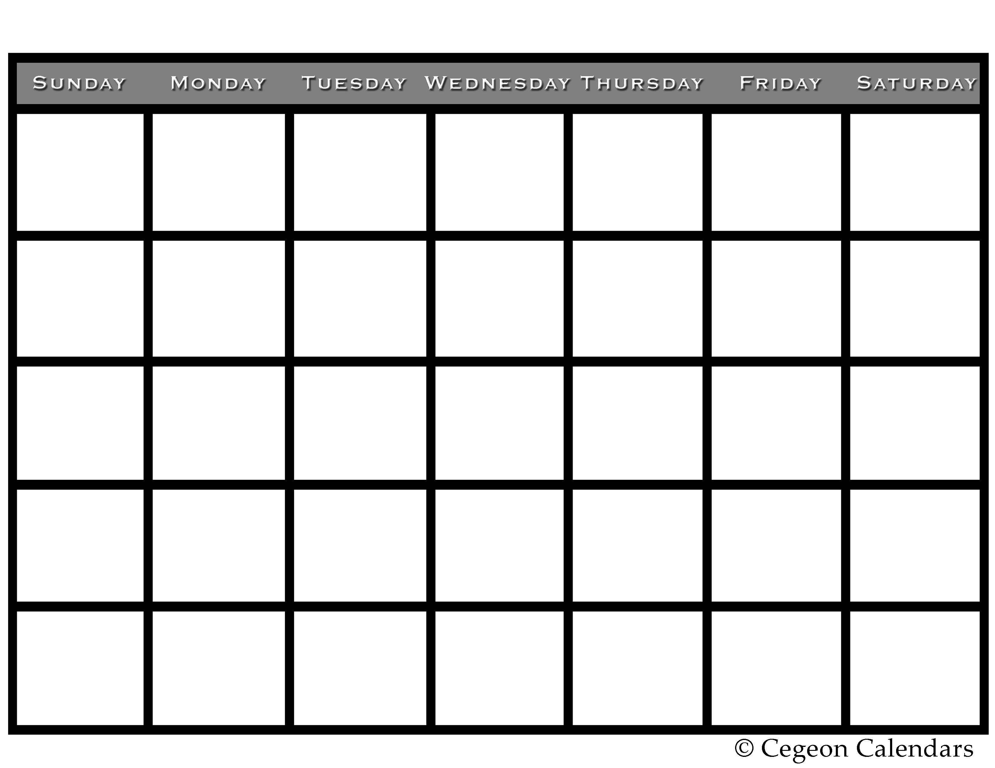 Blank Calendar Template Kids Printable