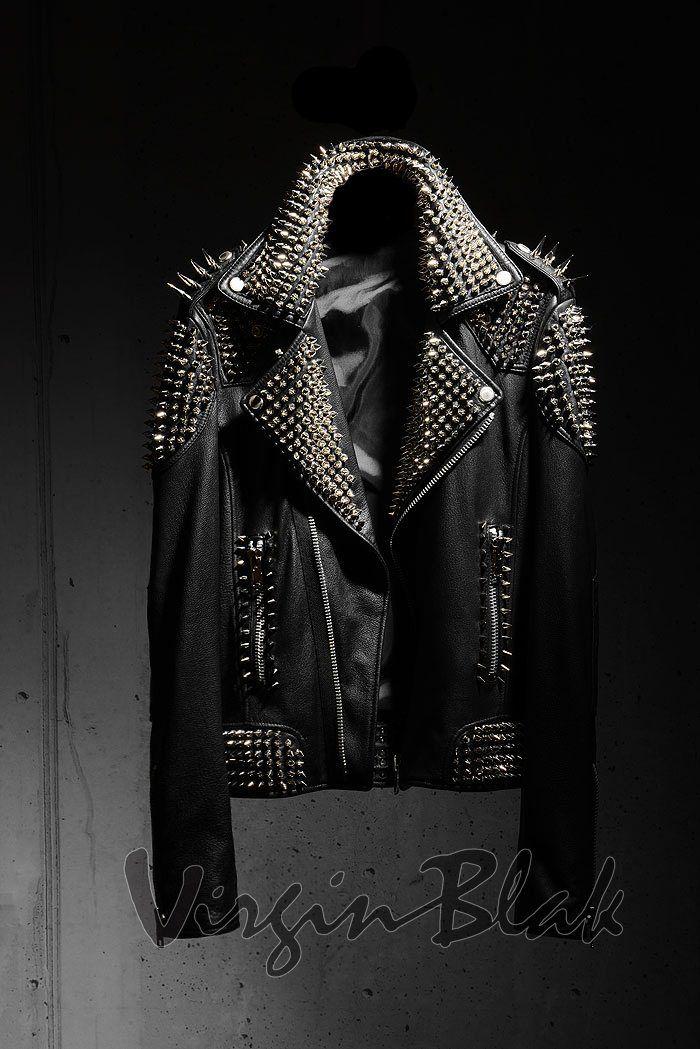 Virgin Blak spiked black leather jacket Punk rock heavy