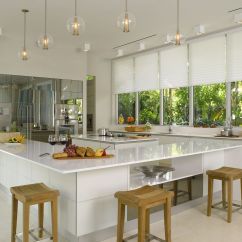 Modern Kitchen Window Treatments Grey Wood Table A Brilliant White Design With Silhouette