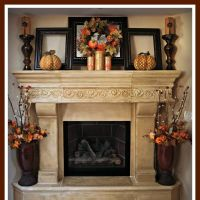 Brick Rustic Mantel Decor For Classic Fireplace With Frame ...