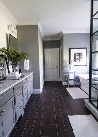 Gray walls, black floors, white accents- brilliant ...