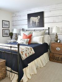 Farmhouse style guest room filled with a mix of new and ...