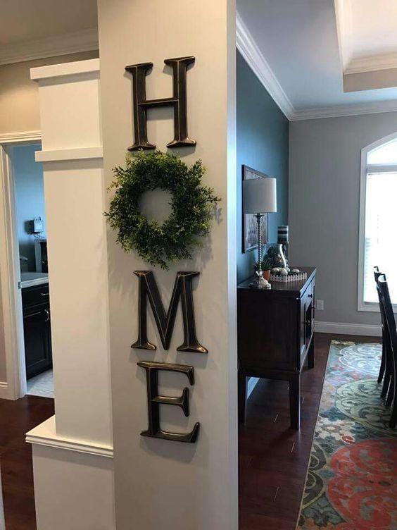 home decor, letter decor, H O M E , use a wreath as the O