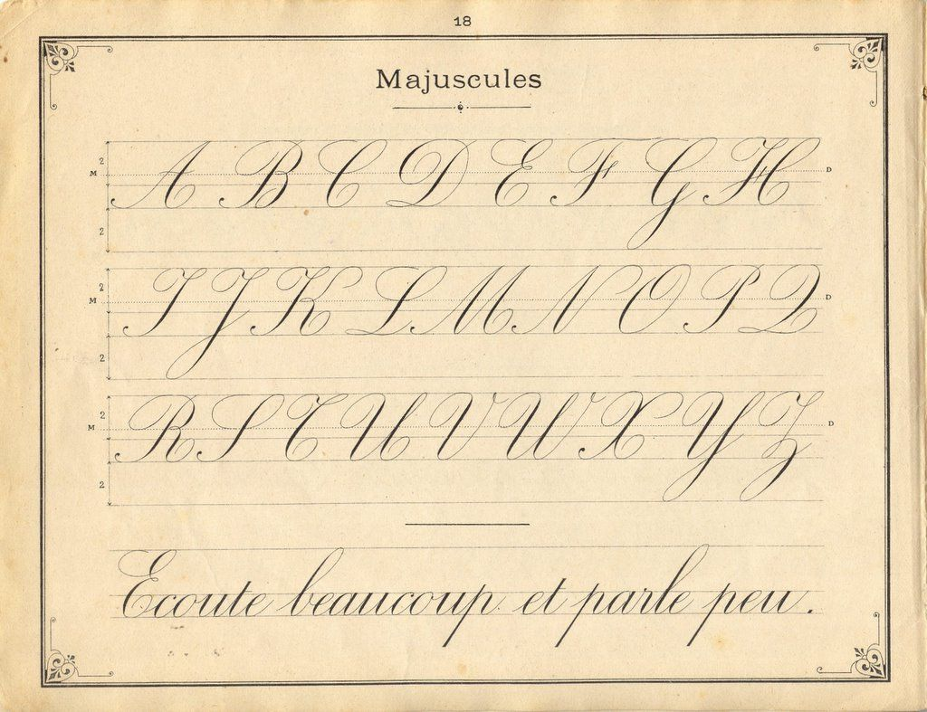 French Instruction Manual Page 18 Medium Cursive Complete Upper Case Alphabet With