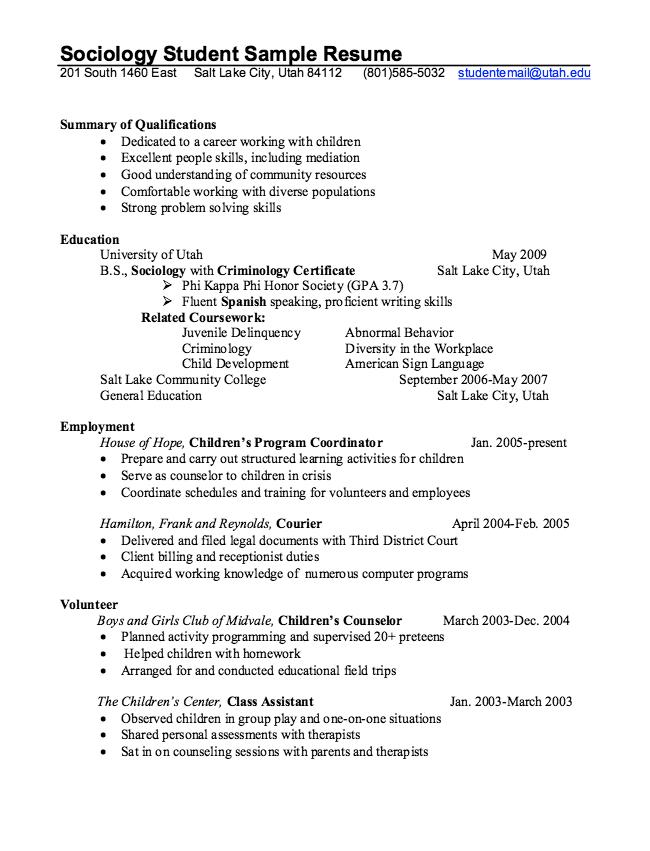 sample resume for sociology graduate