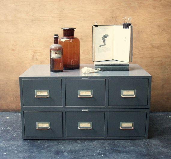 6 Drawer Vintage Metal Stacking File Cabinet  Library
