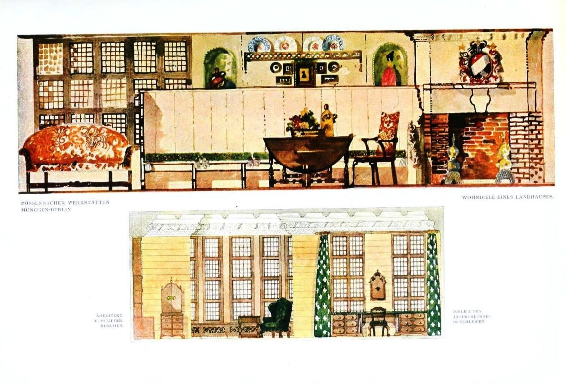 Design Interior Elevation Il Ration Green Brown