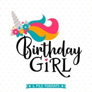 birthday girl svg unicorn