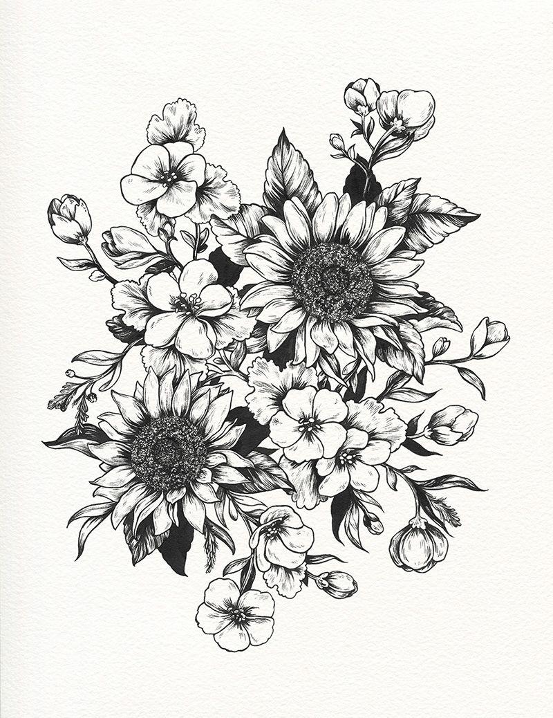 Tumblr Sunflower Drawing Tumblr sunflowers progress