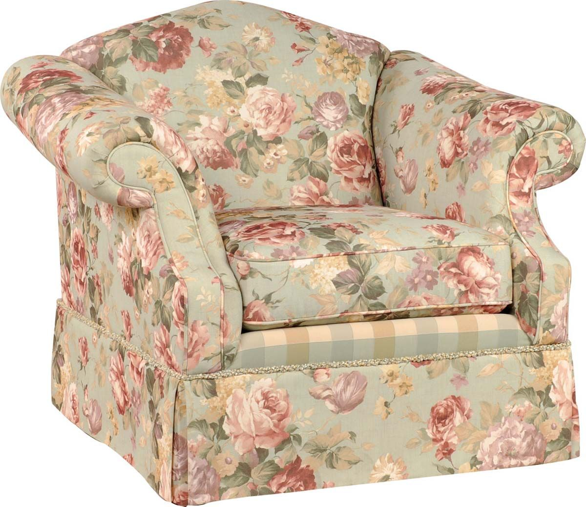 french country sofa fabric seat reinforcement beautiful rose pattern accent chair plus rolled arms