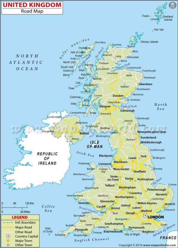 UK Road Map UK Maps amp Images Pinterest England map