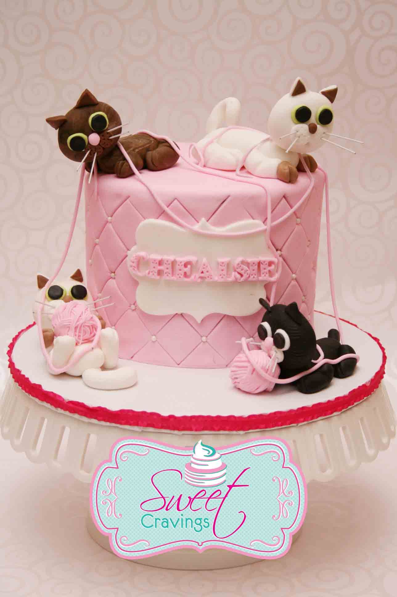 Fondant Cat Birthday Cake